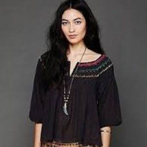 "Free People ""Color Me"" Smocked Blouse"